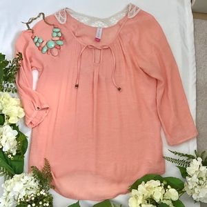 Cream Crochet Back Coral Boho Top Size XXL